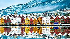 Colorful homes lining the coast on a winter day in Bergen, Norway