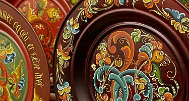 Traditional rosemaling plates in Bergen, Norway