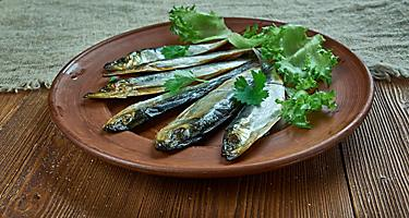 A plate of kieler sprotte smoked fish
