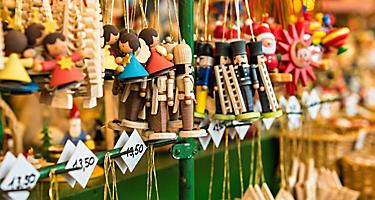 An assortment of wooden toy souvenirs in Germany