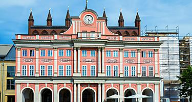 The Rathaus city hall in Rostock, Germany