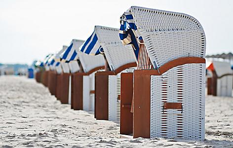Beach chairs on a beach in Warnemunde, Germany