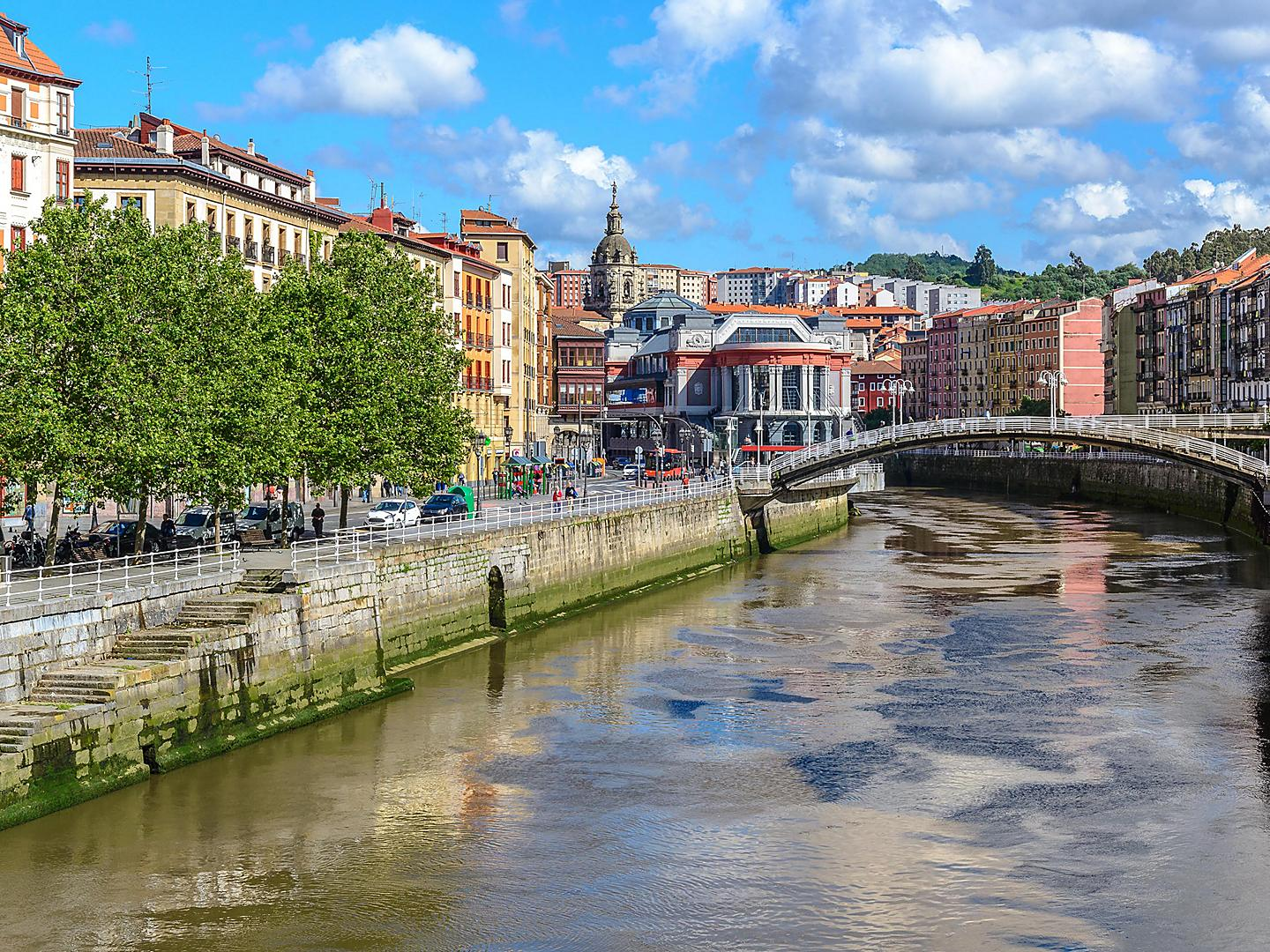 Bilbao, Spain River Running Through City