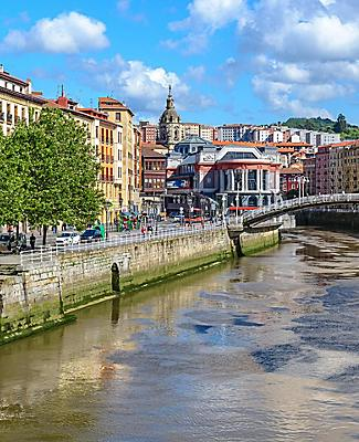 A river running through Bilbao, Spain