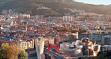 An aerial view of the city of Bilbao, Spain