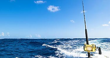 A fishing rod on a boat in the oceean