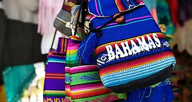 A souvenir bag with Bahamas embroidered on to the front