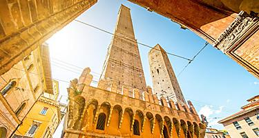 Le Due Torri, two famous leaning towers Garisenda and Asinelli in Bologna, Italy