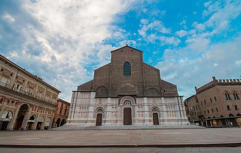 View of San Petronio Basilica in Bologna, Italy, the largest church built of bricks