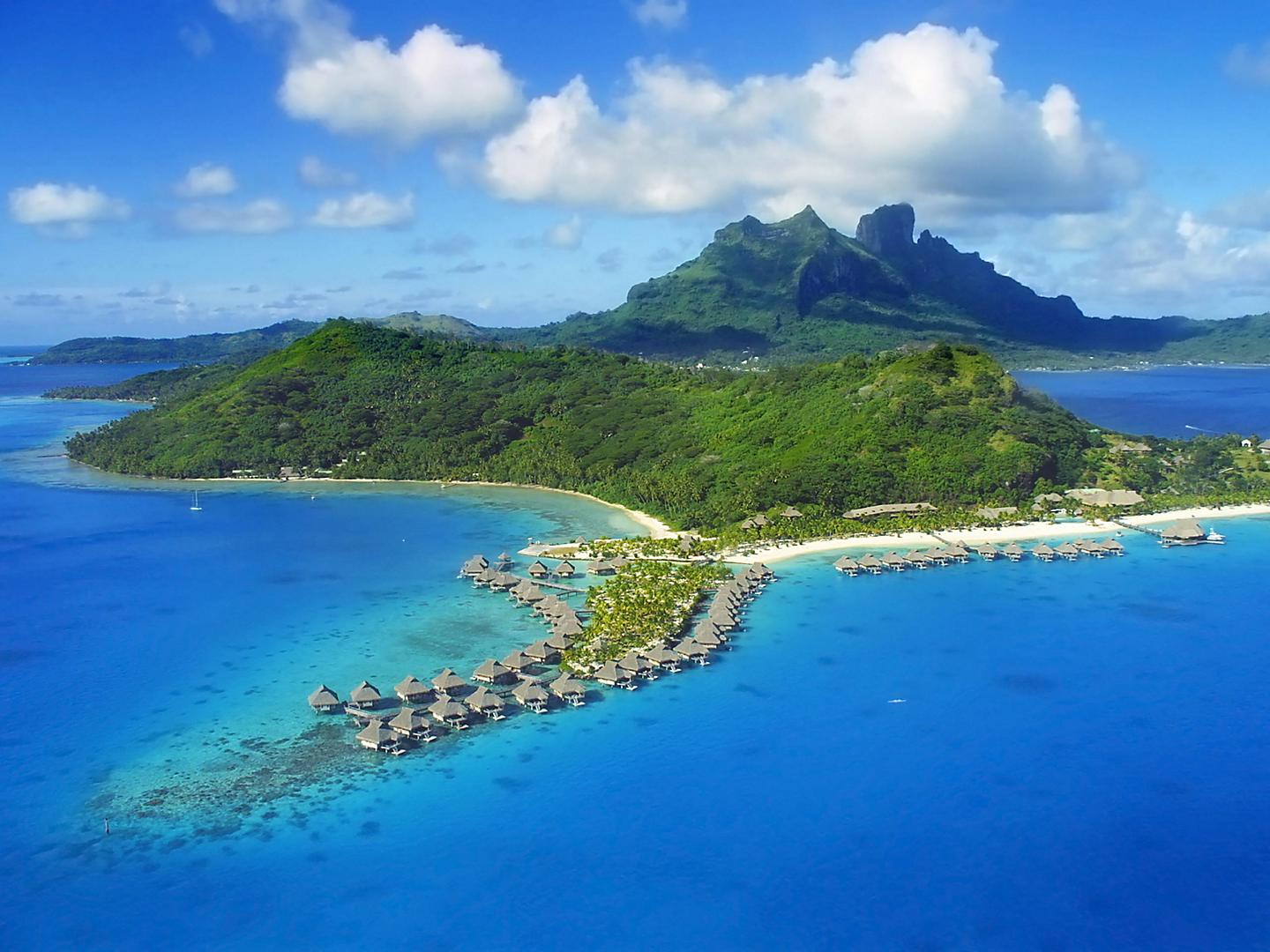 Bora Bora, French Polynesia, Aerial view of overwater bungalows
