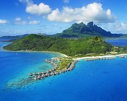Aerial view of overwater bungalows in Bora Bora