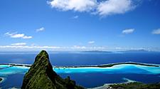 View of Mount Otemanu and the coast of Bora Bora, French Polynesia