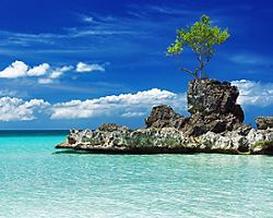 Willy's rock on the beach on Boracay Island, Philippines