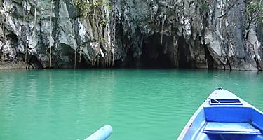 On a kayak about to enter an underwater cave in Boracay, Phillippines