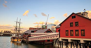 boston massachusetts harbor financial district sunset tea party ships museum
