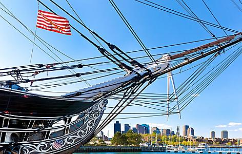 boston massachusetts skyline uss constitution
