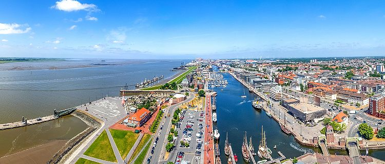 Aerial view of the marina in Bremerhaven, Germany, on a sunny day