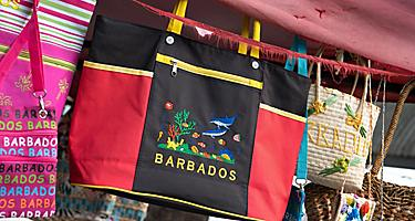 Assorted bags at an open souvenir market in Bridgetown, Barbados