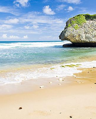 Rock formations on the shores of Bathsheba Beach, on a sunny day in Bridgetown, Barbados