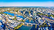 Aerial view of Brisbane, Australia and the Brisbane river