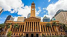 The front of city hall in Brisbane, Australia