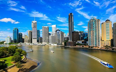 Aerial view of the Brisbane river with the skyline in the background