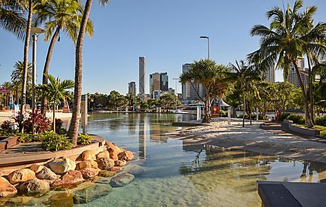 The South Bank artificial beach in Brisbane, Australia