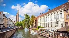 View of a canal in Bruges, Belgium with buildings on both sides