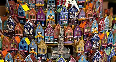 Various miniature traditional home souvenirs in Bruges, Belgium