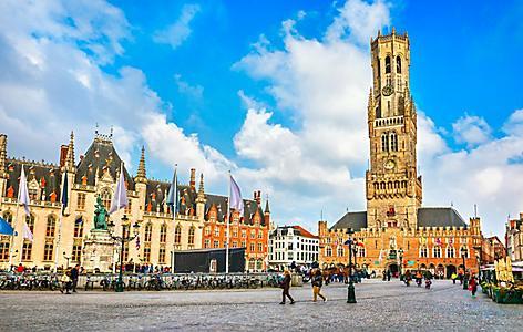 The market square in Bruges, Belgium