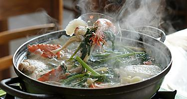 Seafood soup cooked in Jagalchi fish market in South Korea in Busan