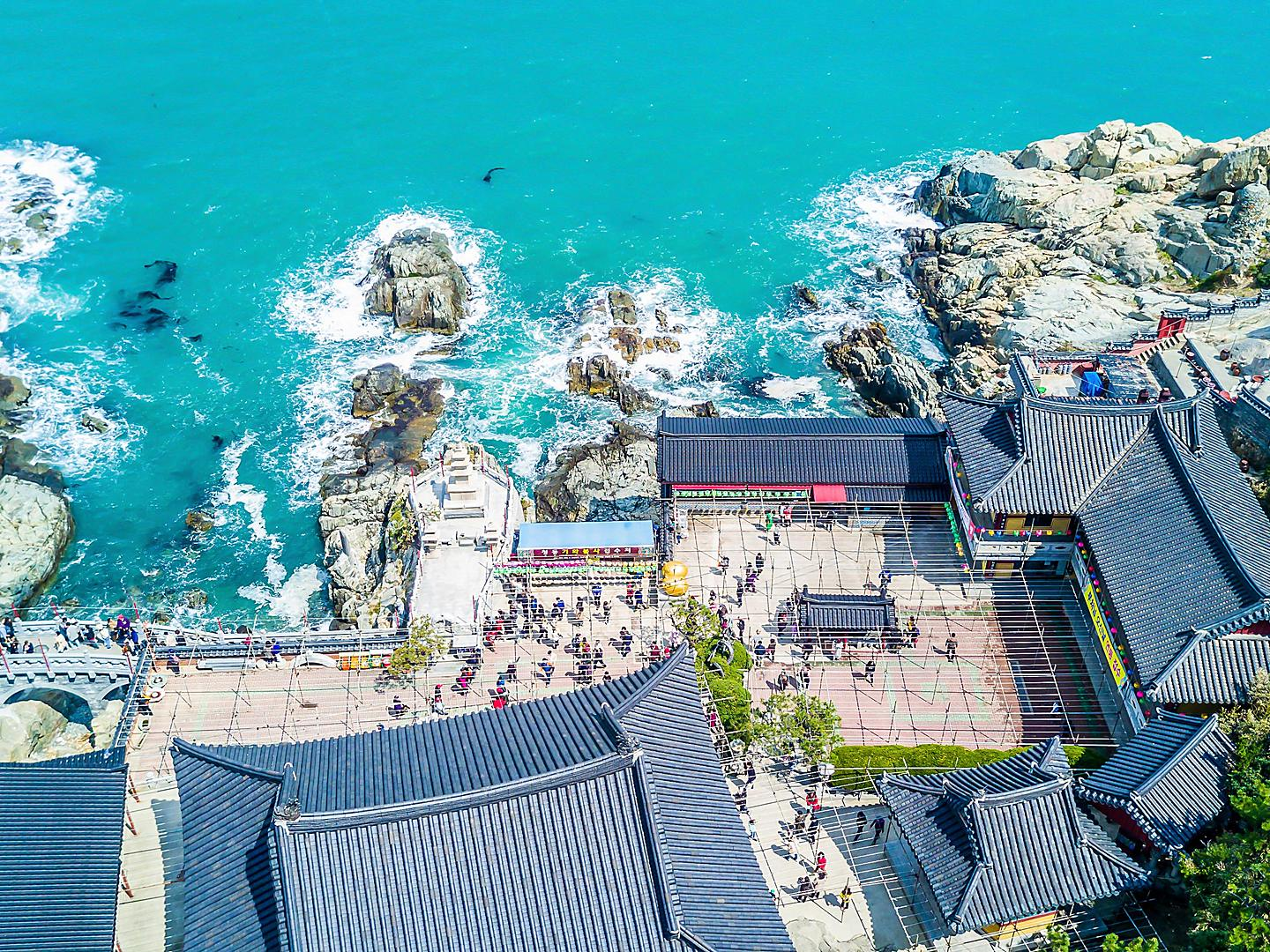 Busan, South Korea Aerial Temple