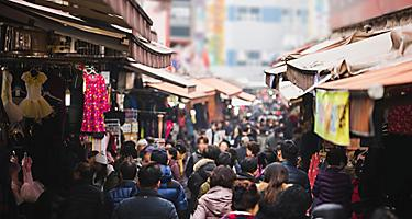 Shopping in traditional markets in Busan, South Korea