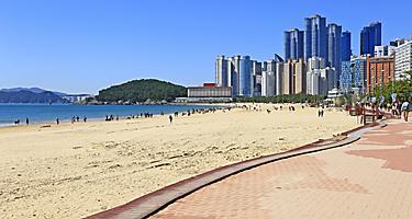 Haeundae beach with a view of the cityscape in Busan, Korea