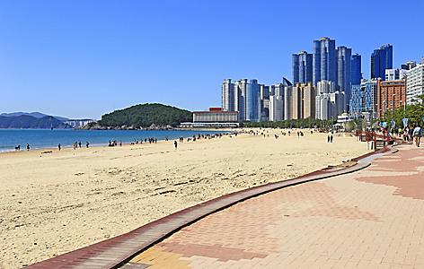 Haeundae beach with a view of the cityscape in Busan, Korea