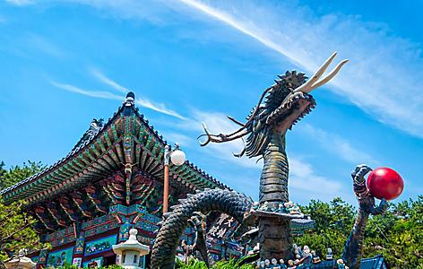 A statue of a dragon at Haedong Yonggungsa Temple in Busan, South Korea