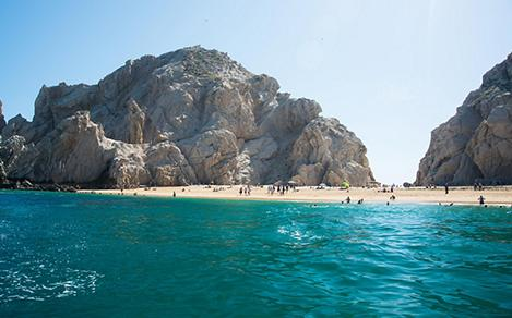 View of Lovers beach in Cabo San Lucas, Mexico from the sea