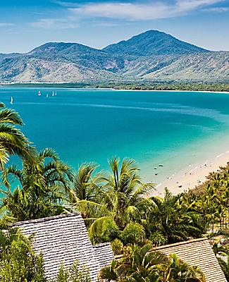 An aerial view of Port Douglas Beach in Australia