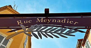 A Rue Meynadier street sign in Cannes, France
