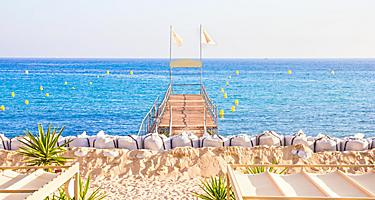 A pier at a beach in Cannes, France