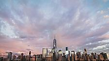 Wide view of New York skyline