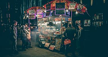 Street food vendor at night in Cape Liberty, New Jersey