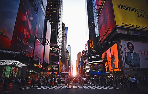 Sunset at Times Square in Manhattan New York
