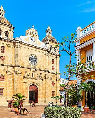 Close up view of the Church of St. Peter Claver in Cartagena, Colombia