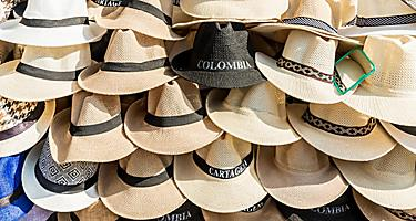 Traditional hats for sale in Cartagena, Colombia