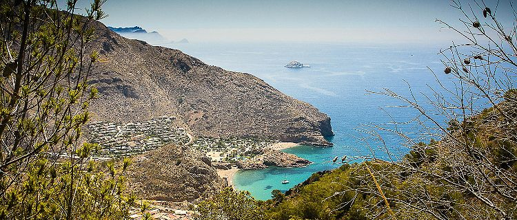 View of a secluded coastal beach in Spain
