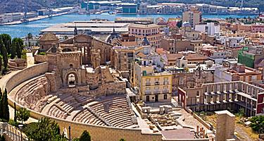 Aerial view of a Roman amphitheater in Cartagena, Spain