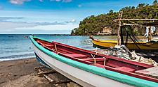 Fishing boats on the bay of Anse La Raye, Castries, St. Lucia
