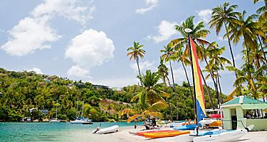 Sunny day with sailboats at Marigot Bay, Castries, St. Lucia