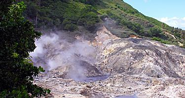 Steaming sulphur springs by Qualibou volcano, Soufriere, Castries, St. Lucia